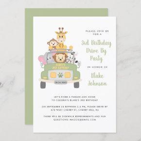 3rd Birthday Animal Safari Drive By Party Invitation