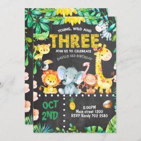 3rd Birthday Invitation Safari Animals Jungle ZOO
