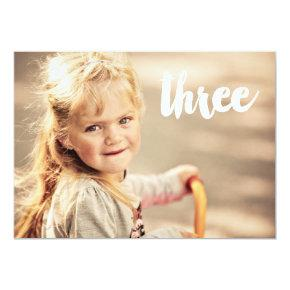 3rd Birthday Number Three Photo Overlay Invitations