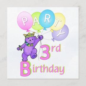 3rd Birthday Party Princess Bear Balloons Invitation