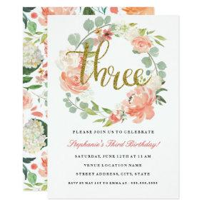 3rd Birthday Pink Gold Floral Wreath Invitations