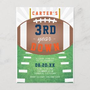 3rd Year Down Football Theme 3rd Birthday Invitation Post