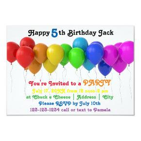 3x5 Rainbow Balloons Birthday Invitation