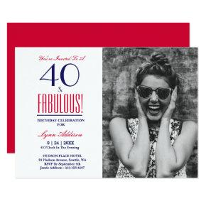 40 and Fabulous! 40th Birthday Party Invitations