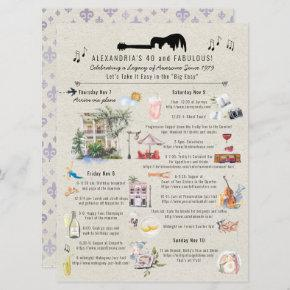40 and Fabulous | New Orleans Birthday Itinerary Invitation