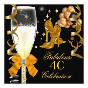 40 & Fabulous Gold Black Birthday Shoes Invitation