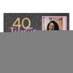 40 & Fabulous Pink Birthday Party 40th Gold Photo Invitation