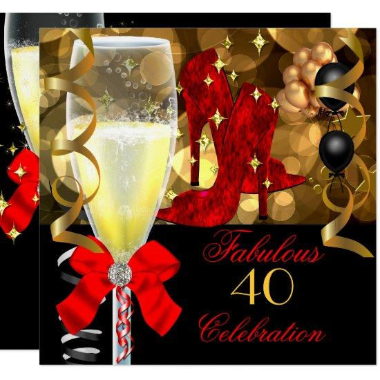 40 fabulous red black gold birthday party invitations candied clouds