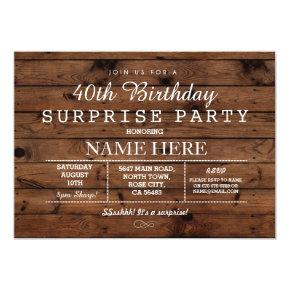 40TH 50TH 60TH BIRTHDAY PARTY WOOD SURPRISE INVITE