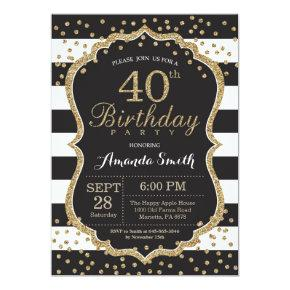 40th Birthday Invitation. Black and Gold Glitter Invitation
