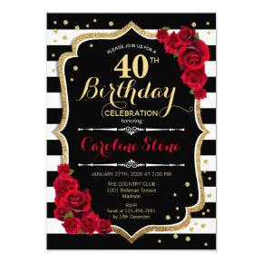 40th Birthday Invitations Black White Stripes Roses