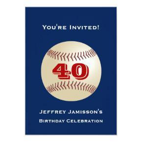 40th Birthday Party Invitations Baseball