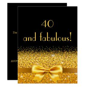 40th birthday party Invitations black with gold bow
