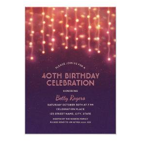 40th Birthday Party Modern Glitter String Lights Invitation