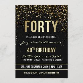 40th Birthday Party | Shimmering Gold Confetti Invitation
