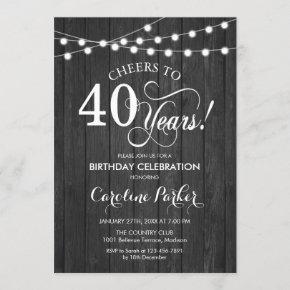 40th Birthday - Rustic Gray Wood Pattern Invitation