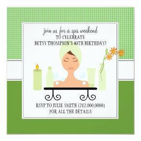 40th Birthday Spa Weekend Getaway Invitation