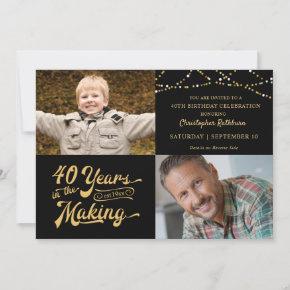 40th Birthday Then & Now Photos String Lights Invitation
