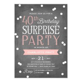 40th Confetti Surprise Party Invitation | Birthday