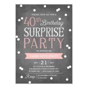 40th Confetti Surprise Party Invitations | Birthday