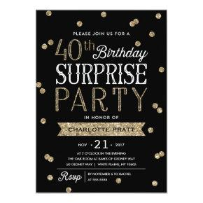 40th Glitter Confetti Surprise Party Invitations