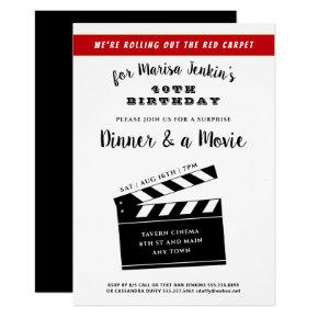 40th or Any Birthday Surprise Movie Theme Fun Invitation