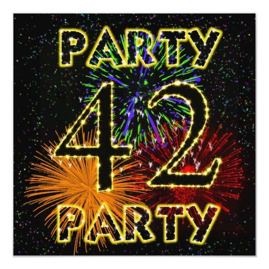 42nd birthday party invitations with fireworks candied clouds