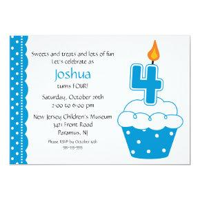 4th Birthday Cupcake Invitation