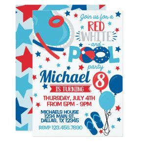 4th of July Birthday Party Invitation Invite