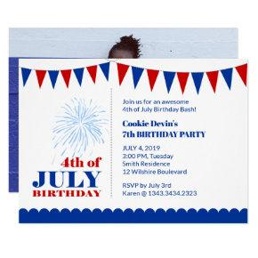 4th of july birthday invitations candied clouds