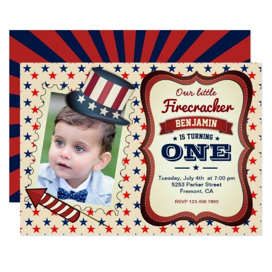 4th Of July Kids 1st Birthday Party Invitations