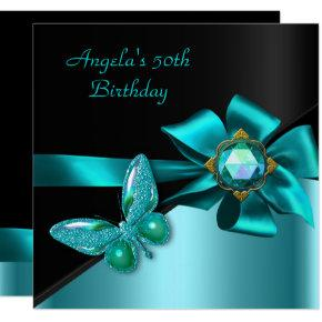50 50th Birthday Party Teal Blue Butterfly Invitation