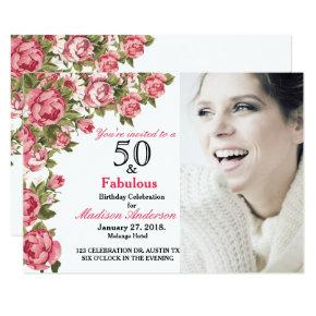 50 and Fabulous Floral | 50th Birthday Invitations