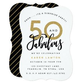 50 and fabulous surprise birthday party invitation