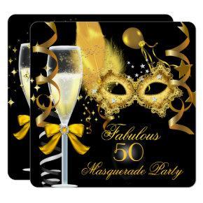 50 & Fabulous Gold Black Masquerade Party Invitation