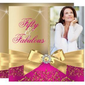 50 & Fabulous Photo Gold Pink Bow 50th Birthday Invitation