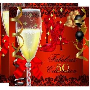 50 Fabulous Red Black Gold 50th Champagne Party Invitation