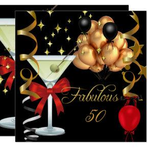 50 Fabulous Red Gold Black Martini Birthday Party Invitations