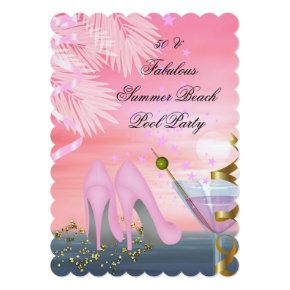 50 Fabulous Summer Pink Cocktail Heels Party Invitation