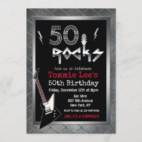 50 Rocks Rockstar Guitar 50th Birthday Invitation