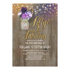 50 Rustic Birthday - Purple Flowers Mason Jar Gold Invitations