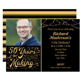 50 Years in the Making Black & Gold Birthday Card