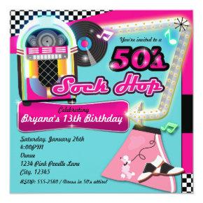 sock hop kids rock and roll retro party invitations candied clouds