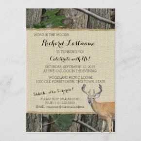 50th Birthday Buck with Hunting Camo Invitation