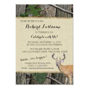50th Birthday Buck with Hunting Camo Invitations