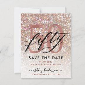 50th Birthday Chic Glitter Ombre Save The Date