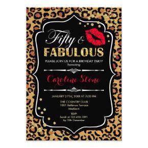 50th Birthday - Fifty Fabulous Leopard Print Invitation