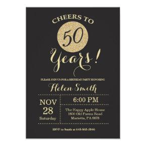 50th Birthday Invitations Black and Gold Glitter