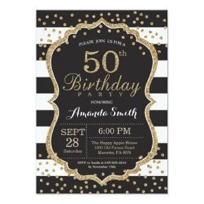50th Birthday Invitation. Black and Gold Glitter Invitation