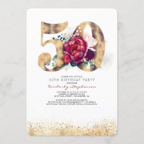 50th Birthday Invitation - Burgundy Red and Gold